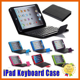 Wholesale iPad Keyboard Stand Flip Folio Leather Case Cover With Removable Bluetooth Keyboard for iPad mini air