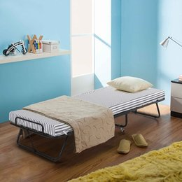 Wholesale IKAYAA Metal Frame Rollaway Single Folding Guest Bed Cot with Mattress Casters kg Capacity US STOCK H16934