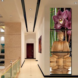3 Piece Canvas Art Printed Buddha Painting Decoracion Paintings Wall Canvas Pictures For Living Room Giveaways wall sticker(No Frame)