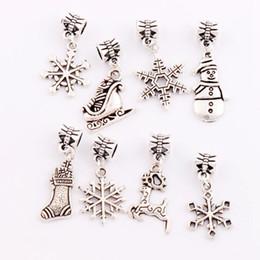 Wholesale 80Pcs styles Antique Silver Christmas Tree Snowflake Snowman Sock Elk Charm Beads Dangle Fit European Bracelets Jewelry DIY BM26