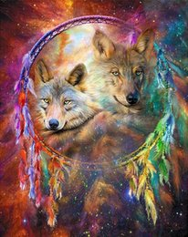 Wholesale DIY Diamond Painting Embroidery D Wolf Dream Catcher Cross Stitch Crystal Square Home Bedroom Wall Art Decoration Decor Craft Gift