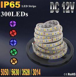 IP20 IP65 Waterproof RGB LED Strip Flexible Lights DC12V SMD 5050 5630 3528 3014 300LED 5M Lampada LED Light Tape Ribbon Lamp