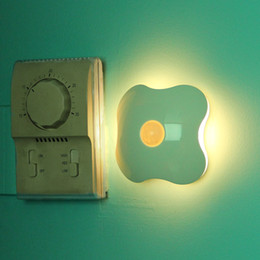 Wholesale Four Leaf Clover Style Rechargeable LED Yellow Light Human Body Sensor Light Control Night Lamp drop shipping