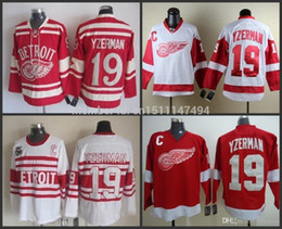 Wholesale 2016 Detroit Red Wings Steve Yzerman White Red Hockey Jerseys Ice Winter Jersey Stitched Sportswear Embroidery Logos