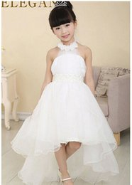 Princess Wedding Bridesmaid flower girl dress for Child wear Kids clothes white party tutu dresses for girl