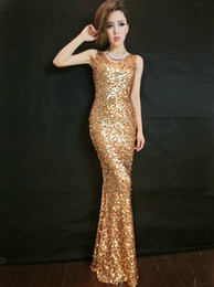 Gold Sequin Floor Length Evening Dress 2016 V Neck Long Evening Gowns Custom Made Fast Shipping
