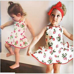 Cute Girl Strawberry Suspender Dress 2016 New Summer Baby Girls 100% Cotton Princess Dresses With Shorts One-Piece Infant Baby Skirt