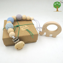 Wholesale Baby Teether Gift Set Braided Pacifier Clip Crochet Beads elephant Animal Chew Wooden toy Teething Jewelry Safe Nature with Gift Box PT005
