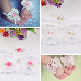 Wholesale 8 colors Children s hair accessories baby foot flower bows roses flowers elastic foot ornaments headdress cloth flowers pictures