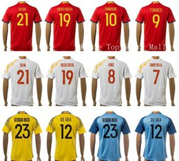 Wholesale 2016 Soccer Spain Jersey SILVA DIEGO COSTA Football Shirt FABREGAS TORRES SERGIO RAMOS DAVID VILLA XAVI ISCO CASILLAS