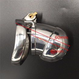 New lock design device full length 60mm,cage length 45mm stainless steel male chastity devices for men