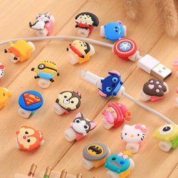 Wholesale Cable Saver Kawaii Minions Silicone USB Charger Cable Earphone Wire Cord Protector For iPhone Plus iPad iPod Samsung Phone Accessories