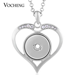 NOOSA Heart Necklace Inlaid Clear Rhinestone Fit 18mm Snap Charm with Stainless Steel Chain VOCHENG NN-434