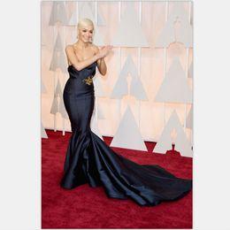 Wholesale 2016 Oscar Academy Awards Unique Design Rita Ora Celebrity Dress th Oscar Mermaid Red Carpet Gowns with Golden Decoration