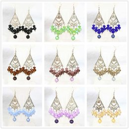 Wholesale Trendy women earings eardrop special handmade colorful round shell pearl abacus crystal beads hot sale jewelry B1316