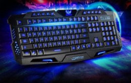 Wholesale 2015 New Tri color Backlight Russian to computer Mechanical Dota Gaming Keyboard Gamer Advance Computer Keyboard