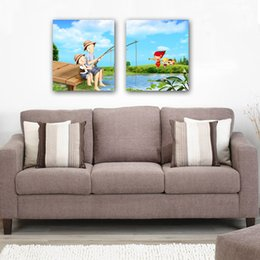 unframed Free shipping 2 Pieces Home decoration picture Canvas Prints Cartoon world the fishing Eiffel Tower branch girl tree Lotus leaf