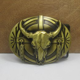 Wholesale-Cow head belt buckle bronze Metal belt buckles Texas Fashion Mens Western Turbo Nos Tunning suitable for 4cm wideth belt