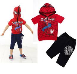 2017 spiderman ensembles de vêtements d'été homme Summer Spiderman garçons Vêtements Set Baby Boy Araignée Sport Suits Hoodie à manches courtes T-shirt + Sets de Pant Vêtements pour enfants Survêtements spiderman ensembles de vêtements d'été sur la vente