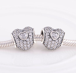 Fits Pandora Bracelet&Charms PAVÉ TRIPLE HEART CHARM DIY Beads Solid 925 Silver Not Plated