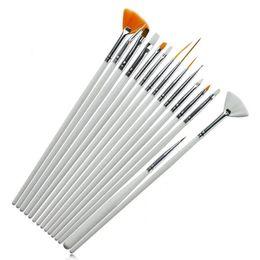 Venta caliente 15 piezas de uñas de arte pinceles decoración pincel herramientas de herramientas blanco de madera mango pintura de la pluma para las uñas falsas uñas UV gel de uñas pinceles desde sistemas de la pluma de madera proveedores