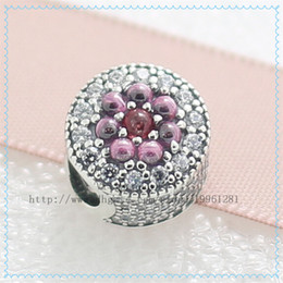 2016 New Spring Dazzling Floral Charm 925 Sterling Silver Bead with Purple & Pink Cz Fit European Pandora Style Jewelry Bracelet Necklaces
