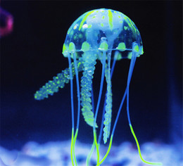 Wholesale 6 Colors Optional Artificial Silicone Glowing Jellyfish with Sucker Fish Tank Aquarium Decoration Aquarium Ornaments Accessories jy780