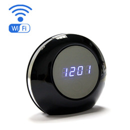 Wholesale Wireless HD P Wi Fi Alarm Clock Hidden Spy Camera with degree view angle IP P2P Cam Camera for PC phone control