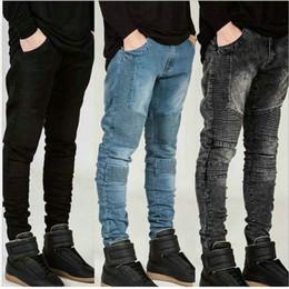 2016 MEN JEANS Tide Brand Personality men jeans motorcycle folds Slim Pencil pants jeans distressed jeans ripped denim zipper fly jeans