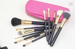 Black Golden Makeup Brushes 12pc=1set Professional Brush with a Pink Leather Zipper Bag Free Shipping 50pc