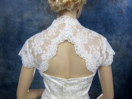 New Arrival White sleeveless bridal alencon lace wedding bolero jacket Bridal Wraps & Jackets veste bolero 2016