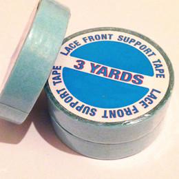 Descuento cintas de la peluca del pelo El rodillo azul Adhesiv de la cinta 1cm * 3 de Adhesiv de la cinta (10 rueda cada porción) cinta de los Doble-lados para el pelo adhesivo de doble cara de la cinta de la peluca del pelo que envía libremente