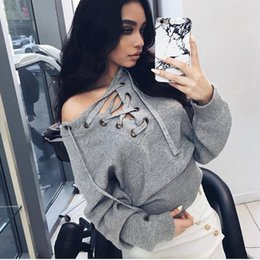 Wholesale Autumn Apparel Lace up winter sweater women Casual loose belt ribbed top knitwear Sexy jumper Elastic hem pullover outwear