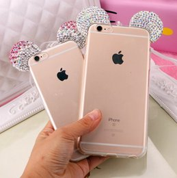 Wholesale Hot Luxury D Diamond Glitter Mickey Minnie Mouse Ears Rhinestone Clear Phone Cases Cover For iPhone G S G S Plus