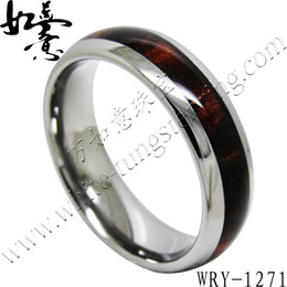 Edony Wood Inlay Tungsten Carbide Rings 6mm for Women ladies WRY-1271
