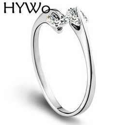 HYWo Clear Zircon 925 Sterling Silver with Women Wedding & Party Fashion Rings double diamond single ring open design Fit Pandora ring