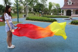 2016 sales of 100% silk handmade high-quality silk fan dance belly dance red orange yellow tri-color gradient 180 * 90 cm one pair of dress