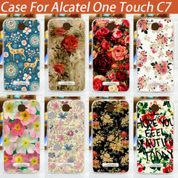Wholesale-diy colored flower Case pattern cover For Alcatel One Touch POP C7 7041D OT7040D 7040 new arrival painted alcatel c7 case