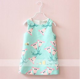 Wholesale 2016 Autumn New Girl Dress Morning glory Flower Bee Print Party Sundress Girl Thick Vest Dress Children Clothing T