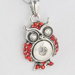 cheap 12mm owl with rhinestone blue red snap button pendant noosa necklace pendant 12mm NOOSA chunks snap button alloy jelwery accessories