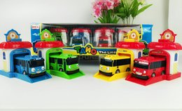 Wholesale Free delivery set Korean Cute Cartoons garage tayo the little bus model mini tayo plastic baby car for Christmas gift