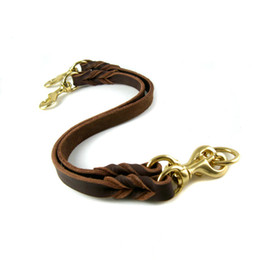 Two Dogs With One Lead Handmade Braided Cowhide Leash For Medium Large Dog Soft Durable Leather Collars & Leads