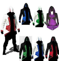 Capas superiores del traje en Línea-Assassins Creed 3 Jeux III Conner Kenway con capucha chaqueta de la capa del traje de Cosplay Tops abrigo caliente de la venta