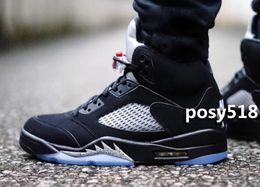2016 New 5 Retro OG Black Metallic 5s Mens Siver Grey 3M Sneakers Basketball Shoes Men V For Sale