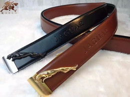 Wholesale The New JAGUAR Copper Buckle Advanced Color Embossed Leather Belts Casual Fashion The King Style Men Belts