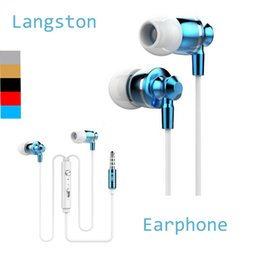 Wholesale 2016 Extrabass power in ear Definition mm Plug Metal Headphone Headset Langston M300 Metal Earphone with mic iphone Cellphone EAR185