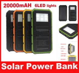 20000mAh Solar Powerbank Portable Waterproof Solar with Six LED Camping Lights Solar charger power bank Retail Package