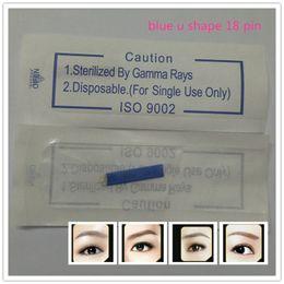 50 Pcs lot 18 Pin U Shape s Permanent Makeup Eyebrow Embroidery Blade For 3D Microblading Manual Tattoo Pen