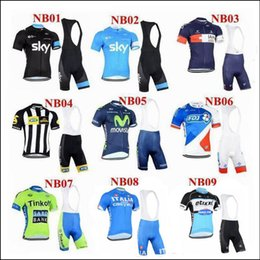 Wholesale 2015 New Arrival Team Sky Tinkoff And Movistar Cycling Jerseys Short Sleeve With Cool Max Padded Bib None Bib Pants Cycling Kit
