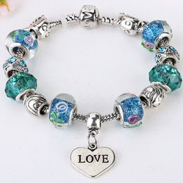 Wholesale 2016 best selling Silver plated pandora bracelet love style heart Charm glass Beads pandora Bracelets for girls